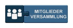 Puzzle Button blau: Mitgliederversammlung