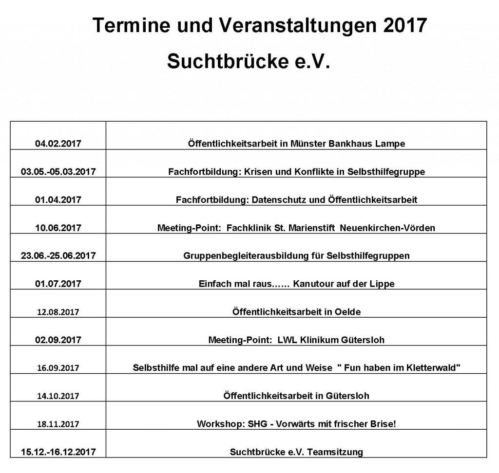 Termine und Veranstaltungen 2017